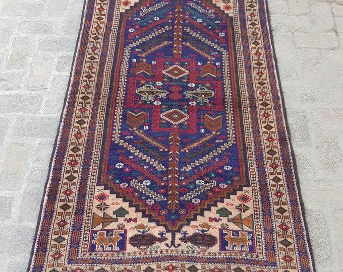 vintage tribal handmade pictorial rug, Afghan Decorative Wool rug, Free shipping