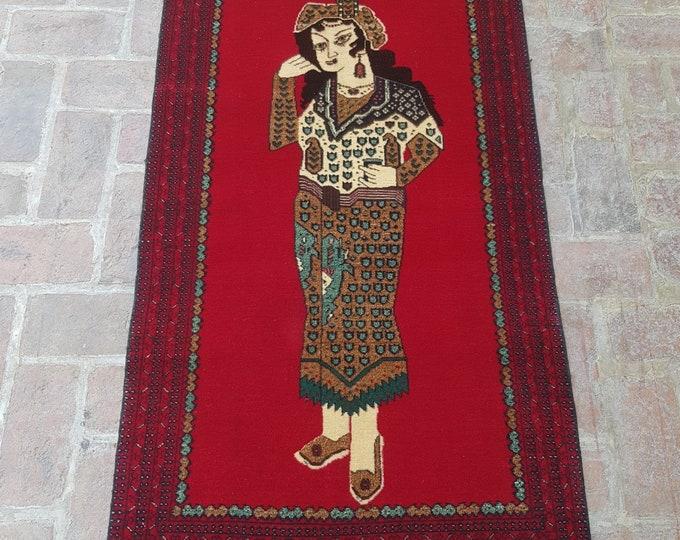 Afghan Princess Portrait rug, Handmade Afghan princess Pictorial rug, Decor rug, Free Shipping