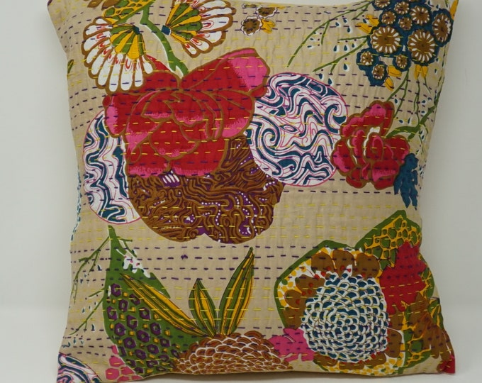 Decorative Kantha pillow cover / Cushion Cover Ikat pillow cover - home decor Decorative Ikat pillow