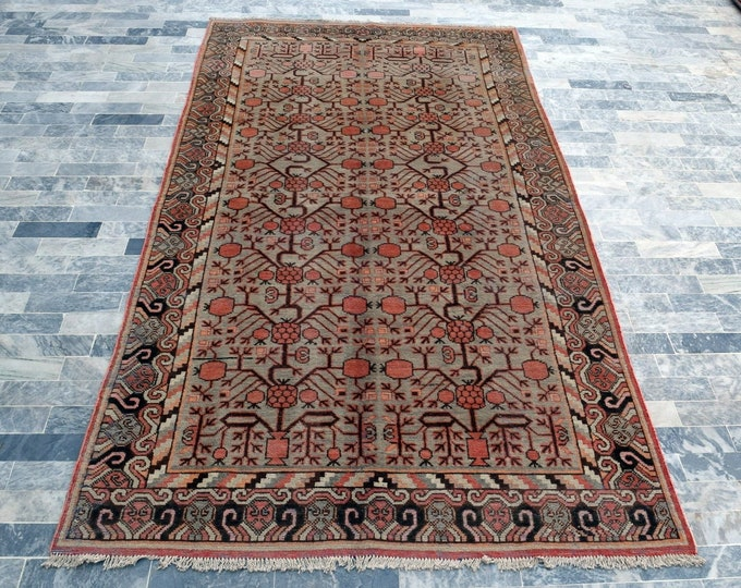 "Antique 5'4"" x 11'1"" Khotan Rug Pomegranate Hand Knotted Wool Rug Art Deco Rug 1940s - FREE SHIPPING, Bedroom rug, Livingroom rug"