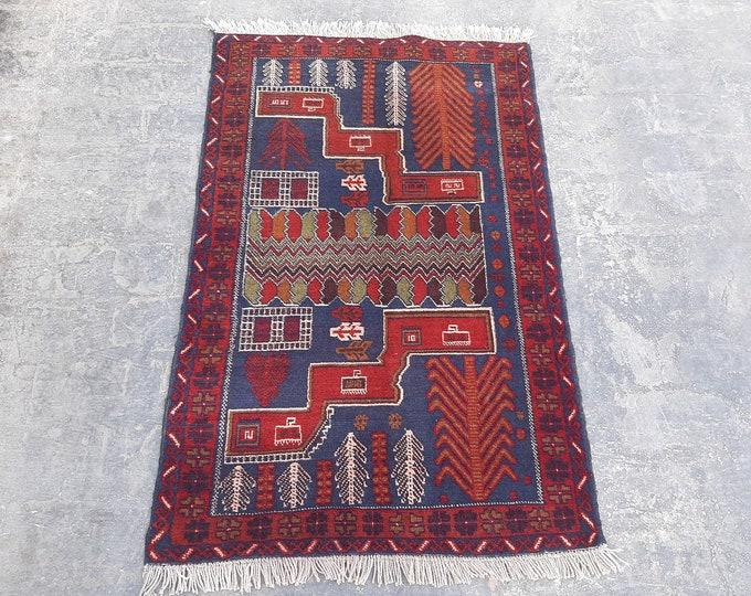 2'10 x 4'5 Vintage Baluch handmade rug - tribal Turkmen Kitchen rug - free Shipping