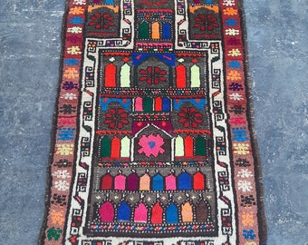 Colorful Afghan Vintage Prayer rug, Handmade Afghan Baluch rug, Free Shipping