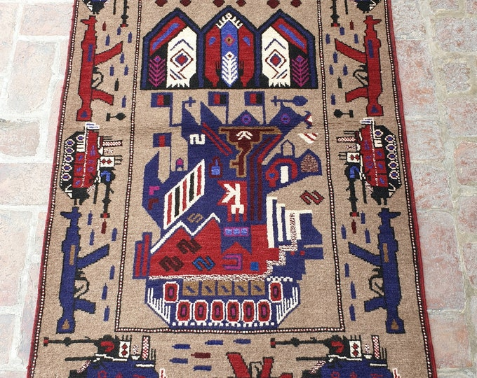 Afghan Hand Knotted War Rug 95 x 154 (cm)