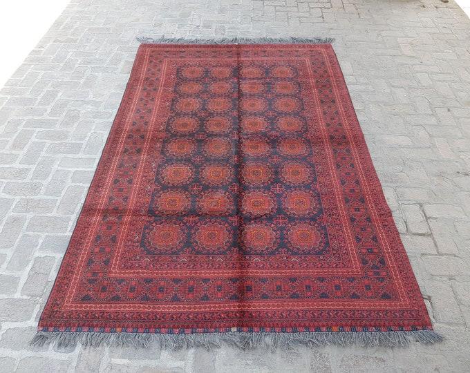 Afghan Khal Mohammadi rug, Vintage Afghan turkmen rug, 100% wool rug, Bedroom rug, Free shipping, Living room rug