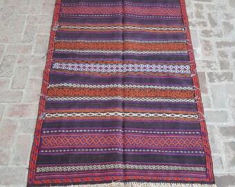 Afghan vintage Qalaino kilim rug, Nomad's Tribal kilim, Free shipping, Dining room rug, Turkish kilim