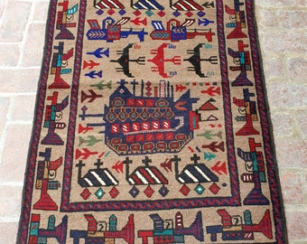 Afghan Hand Knotted War Rug 98 x 155 (cm)