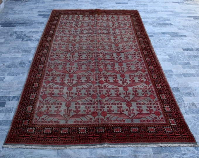 """Antique 6'4"""" x 12'6"""" Khotan Rug Stone Gray Pomegranate Hand Knotted Wool Rug Art Deco 1930s - FREE SHIPPING"""