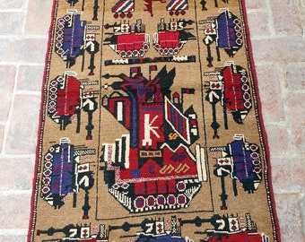 Afghan Hand Knotted War Rug 86 x 146 (cm)
