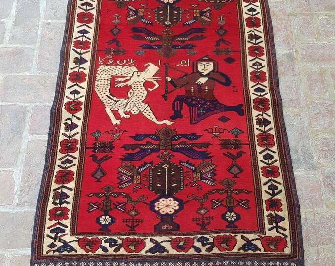 Afghan Tribal Pictorial rug, 100% wool rug, Wall decor rug, Nomad's handmade rug, Bedroom rug, Boho Turkish rug, Free Shipping