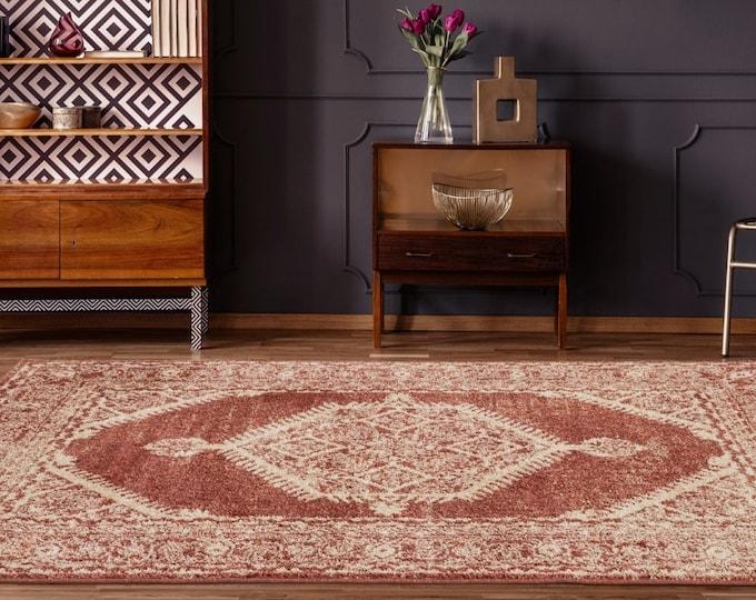 5x7 Rugs Marrakesh Sultana Brick Traditional Rug, Living Room Rug, Bedroom Rug, Tribal Look Carpet, 6x9 Rug, Traditional 8x8 Round Rug