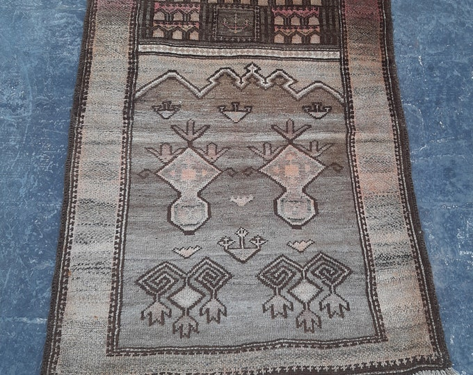 Faded Afghan Vintage Prayer rug, Handmade Afghan Baluch rug, Free Shipping