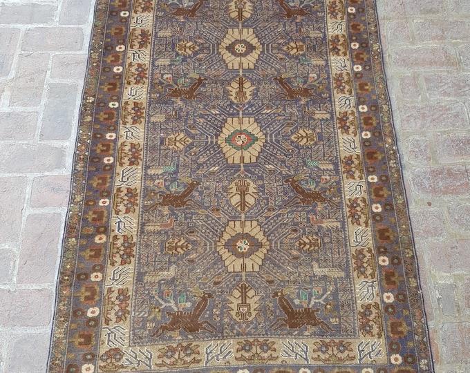 Vintage Handmade Afghan tribal Pictorial rug, Bedroom rug, Drawing rug, Free Shipping, Elegant Nomad rug