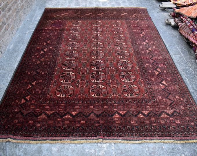 Vintage Afghan Turkmen Area rug 6'7 x 9'3 ft - Hand knotted Turkmen Qunduzi rug - Bedroom rug - Living room rug - Dining room rug