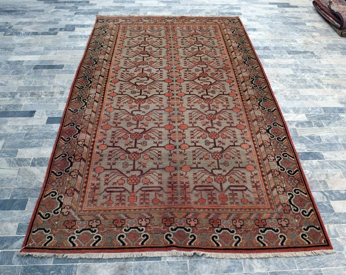 "Antique 6'1"" x 12'0"" Khotan Rug Pomegranate Hand Knotted Wool Rug Art Deco Rug 1920s - FREE SHIPPING, Bedroom rug, Livingroom rug"