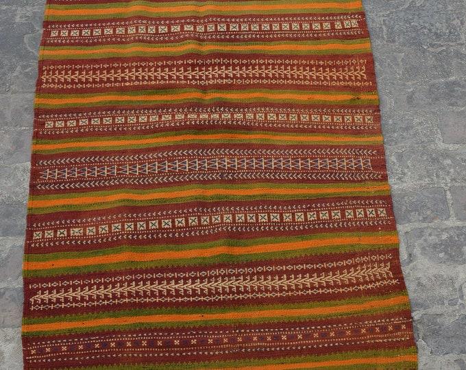 Vintage Spectacular handwoven tribal nomadic kilim / Traditional kuchi kilim/ decorative Caucasian Gypsy kilim