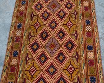Super Quality Handmade Mishwani Nakhunak Herati Woolen rug runner / Cute Afghan Beljick Mushwani kilim rug runner