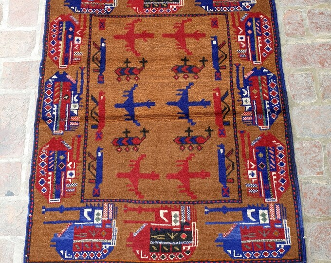 Afghan Hand Knotted War Rug 93 x 134 (cm)