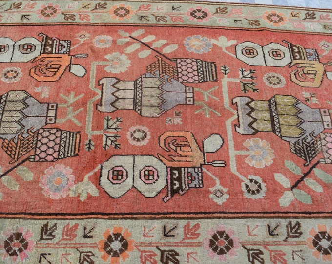 """Antique Samarkand 4'10"""" x 7'10"""" Hand-Knotted Khotan Rug Floral Vases 1930's - FREE SHIPPING"""