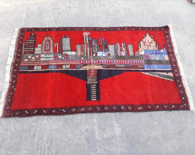 3'2 x 5'2 Vintage City Tower Baluch handmade rug - tribal Turkmen Kitchen rug - free Shipping