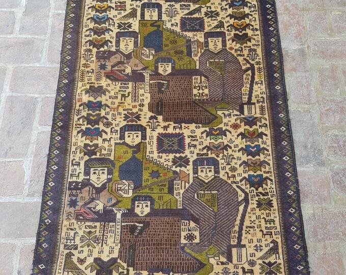 Vintage Handmade Afghan tribal Pictorial rug, Bedroom rug, Kitchen rug, Free Shipping