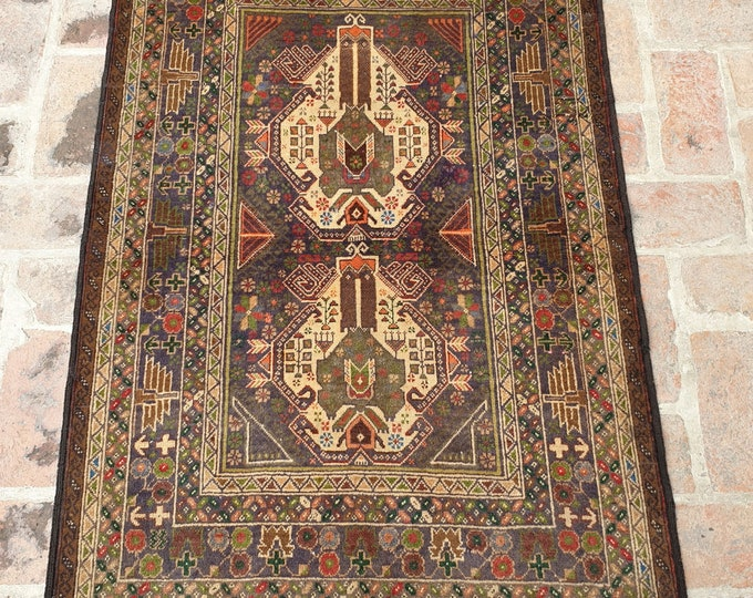 Rustic Hand knotted Baluch Rug, Vintage Primitive Rug, Free Shipping