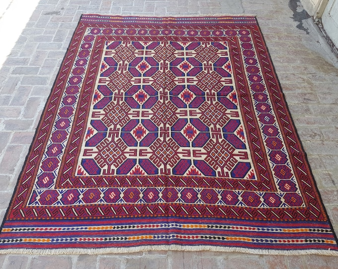 100% wool handmade Sumak kilim, Afghan tribal Living room rug kilim, Bedroom rug, free shipping