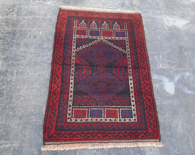 83x120 Vintage Afghan Taimani Baluch prayer rug - Free Shipping - Turkmen Red Prayer rug