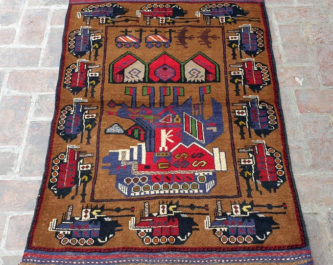 Afghan Hand Knotted War Rug 3'0 x 4'6 (ft)
