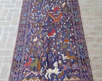 Wide Nomad's Rug runner 136 x 275 - Vintage Handmade Afghan tribal rug, Bedroom rug, Kitchen rug, Free Shipping