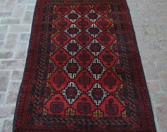 Vintage Afghan handmade Baluch rug