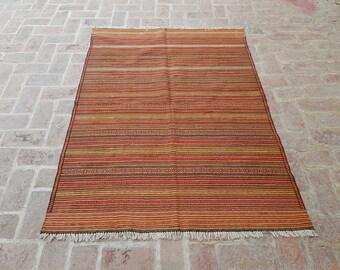 Afghan Kilim 135 x 180 - Tribal handmade wool kilim rug - Free Shipping - Living room rug - Bedroom kilim rug - Herati kilim