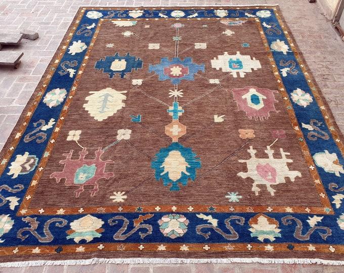300 x 400 Large Hand knotted Turkish Oushak rug / Living room rug / Bohemian Turkish rug / Natural dye color rug / Free Shipping