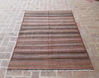 Afghan Kilim 140 x 175 - Tribal handmade wool kilim rug - Free Shipping - Living room rug - Bedroom kilim rug - Herati kilim