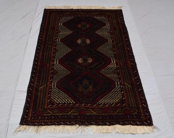 Handmade Tribal afghan blauch rug, Living room rug, Boho traditional rug, Nomadrug