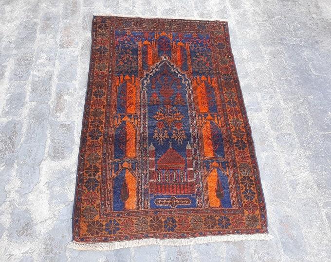 Beautiful Handmade Tribal Prayer rug  - Free Shipping - 95 x 150 vintage prayer rug