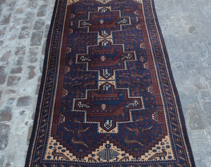 Antique Caucasian style tribal handmade wool pictorial rug / Decorative rug Antique traditional rug
