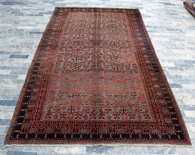 "Antique 6'5"" x 12'8"" Khotan Rug Pomegranate Hand Knotted Wool Rug Art Deco Rug 1910s - FREE SHIPPING, Bedroom rug, Livingroom rug"