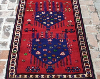 Afghan Baluch Rug, Hand knotted Tribal Rug, FREE SHIPPING