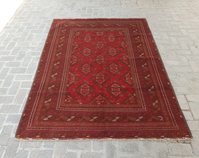 Semi Antique Afghan Kunduz Rug - Fine Afghan rug - Bedroom rug - Wool rug - Living room rug - Free Shipping - Handmade Tribal rug