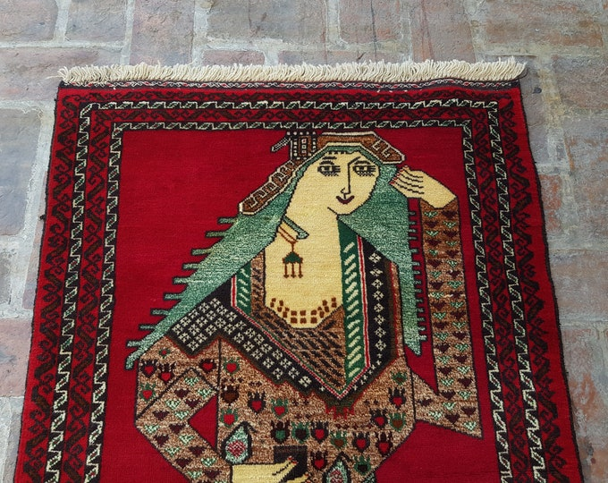 Afghan Queen Portrait rug, Handmade Afghan Queen Pictorial rug, Decor rug, Free Shipping