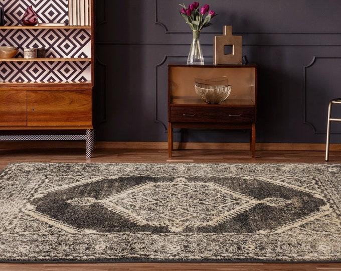 5x7 Rugs Marrakesh Malek Walnut Traditional Rug, Living Room Rug, Bedroom Rug, Tribal Look Carpet, 6x9 Rug, Traditional 8x8 Round Rug