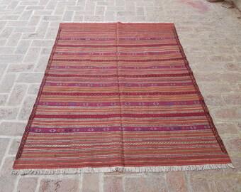 Afghan Kilim 140 x 179 - Tribal handmade wool kilim rug - Free Shipping - Living room rug - Bedroom kilim rug - Herati kilim