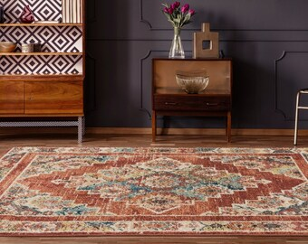 5x8 Rugs Marrakesh Dame Brick Traditional Rug, Living Room Rug, Bedroom Rug, Tribal Look Carpet, 6x9 Rug, Traditional 8x8 Round Rug
