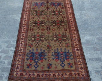 Antique Afghan turkoman tribal Chobbash guldan handmade wool rug / Decorative rug vintage afghan traditional rug