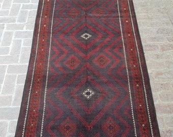 Wide Nomad's Rug runner 145 x 292 - Vintage Handmade Afghan tribal rug, Bedroom rug, Kitchen rug, Free Shipping