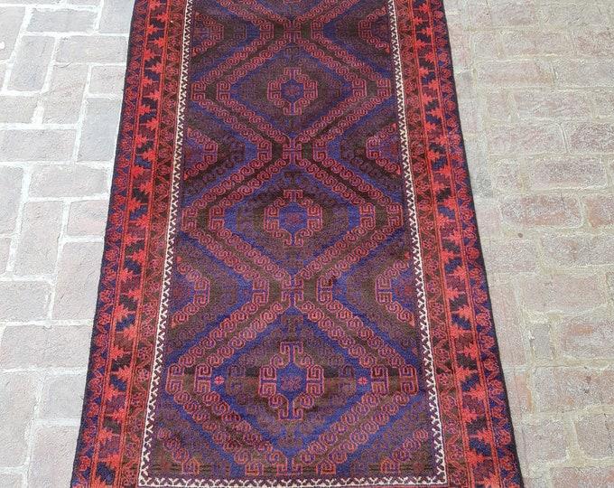 Wide Nomad's Rug runner 116 x 240 - Vintage Handmade Afghan tribal rug, Bedroom rug, Kitchen rug, Free Shipping