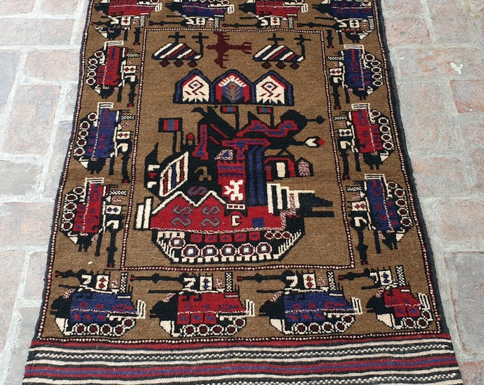 Afghan Hand Knotted War Rug 2'9 x 4'6 (ft)