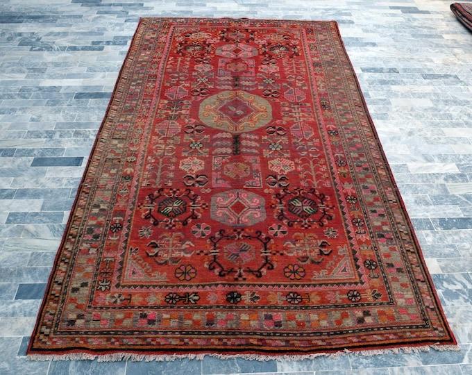 "Antique 6'0"" x 12'5"" Samarkand Hand Knotted Wool Rug Art Deco Rug 1930s - FREE SHIPPING, Bedroom rug, Livingroom rug"