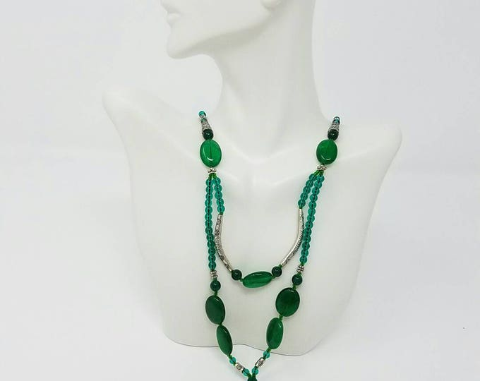 Kuchi emerald glass stone necklace tribal jwelery/ tribal afghan jwelery free Shipping