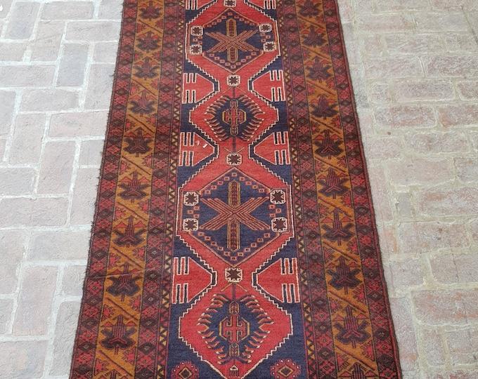Wide Nomad's Rug runner 104 x 256 - Vintage Handmade Afghan tribal rug, Bedroom rug, Kitchen rug, Free Shipping